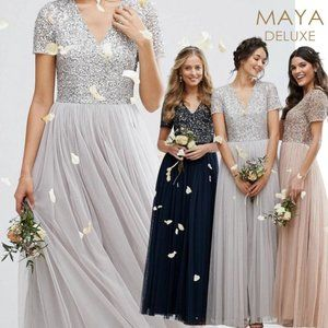 NWT Maya Deluxe Tulle & Sequin Gown   Bridesmaid